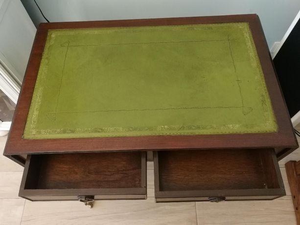 Stolik, biurko z szufladami, karciak rozkładany, skóra