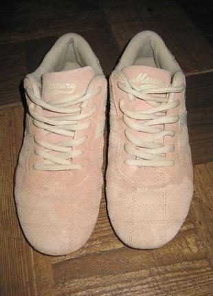 Белые Кроссовки розовые кожа 37-37,5