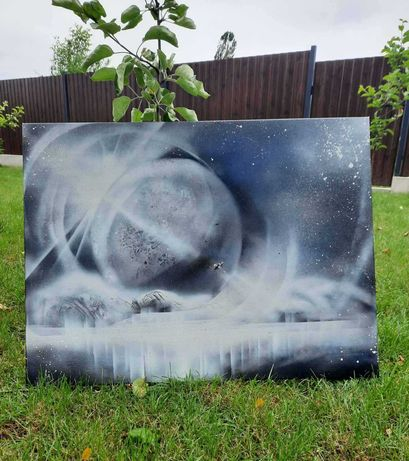 """Картина исполнена акрилом и лаком """"Затмение"""", размер 60 см х 80 см."""