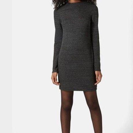 Плотное темно серое платье в обтяжку на молнии topshop