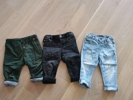 Zestaw spodni- jeansy, sztruksy rozmiar 80