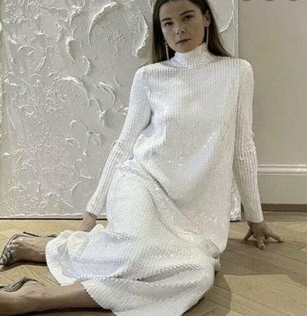 Нарядное белое платье Zara, паетки, М-ка