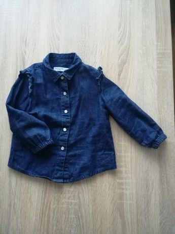 Jeansowa koszula z falbankami dla dziewczynki r 74