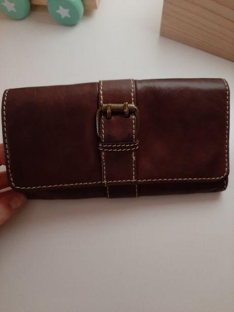 Skórzany świetny portfel ciemny brąz firmy NEXT super stan!!!