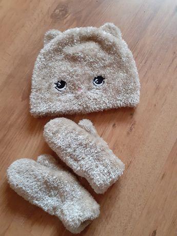 Czapka rękawiczki hm 92-104 h&m kotek