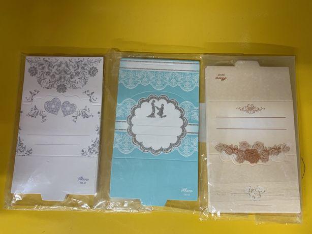 Банкетки или рассадочные карточки для гостей на свадьбу