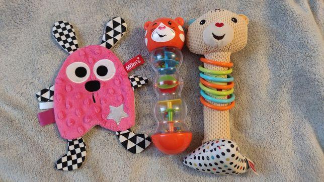 Zestaw #2 zabawki, Fischer Price, mom's care, szeleścik, grzechotka.