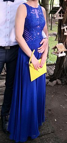 Piękna chabrowa długa sukienka suknia