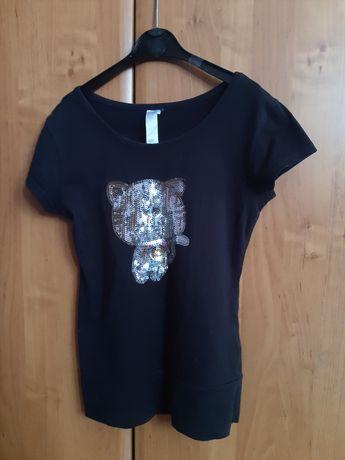 Bluzka koszulka z krótkim rękawem dla dziewczynki 146 152 cekiny kot