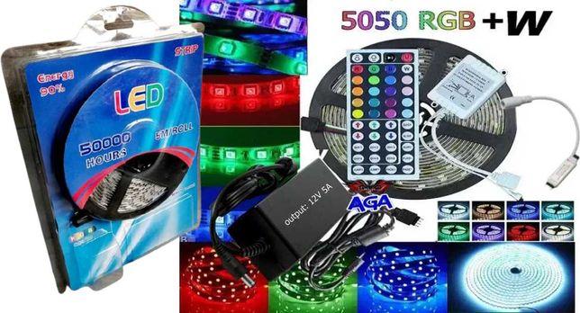Taśma LED 5m 5050 RGB+W-Czerwony/Niebieski/Zielony/Biały