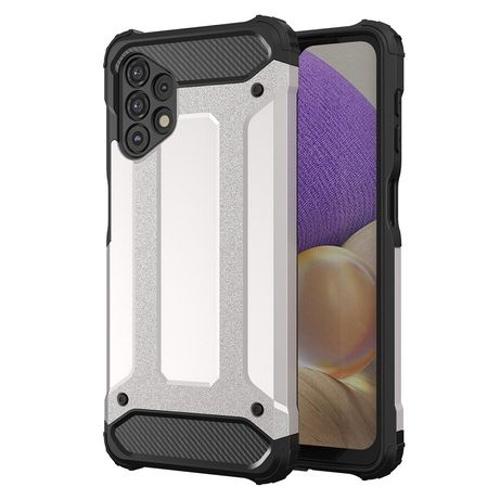 Capa Rígida/Semi Rígida Traseira Hybrid Case Tough Rugged Cover Samsung Galaxy A32 4G Prateado