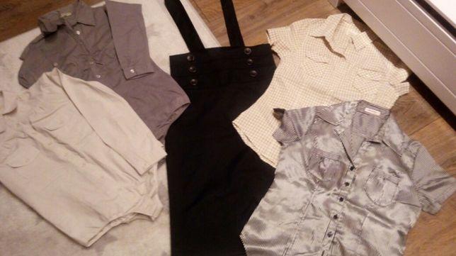 Elegancki zestaw koszula body spódnica ołówkowa koszula krótki rękaw