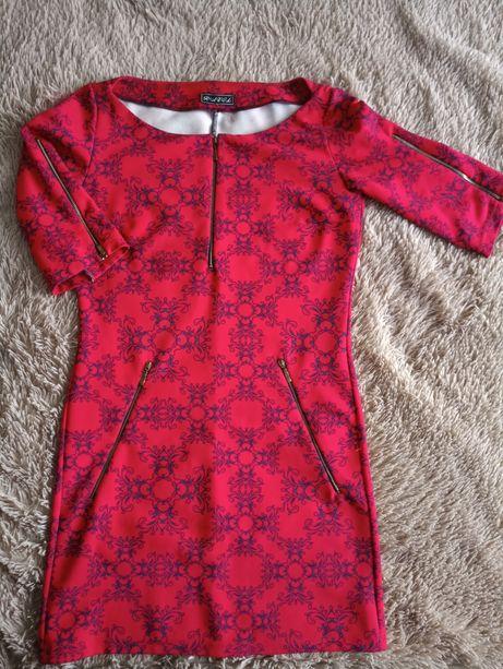 платье красное,мини