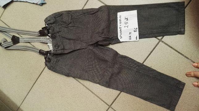 eleganckie spodnie,szelki H&M, r. 86, bezrękawnik, koszula