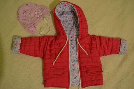 Kurtka rozmiar 62 przejściowa jesień dziewczynka plus czapka różowa