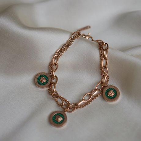 модный браслет-цепь мед сталь