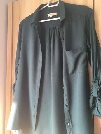 Koszula ciemnozielona, zapinana na guziki, Bershka