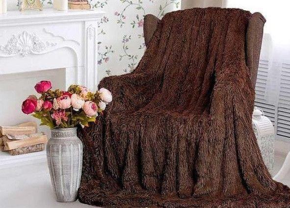 Меховой Плед-Покрывало травка коричневый 150 х 220 см