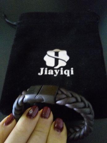 Jiayiqi modny pleciony pasek ze skóry, 2 bransoletki, zapięcie ze sta
