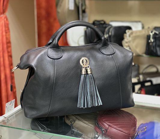 Черная кожаная сумка Мягкая кожаная сумка Саквояж шкіряна сумка