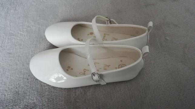 Białe lakierowane balerinki buty dla dziewczynki 34 cool club