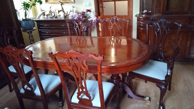 Stylowy stół z intarsją z mosiądzu+6 krzeseł cudo