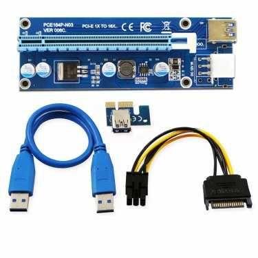 Riser Райзер 006C PCI-E 1X to 16X 6pin 6 pin 12v USB 3.0 60см серверны