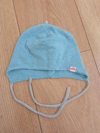 Wiązana czapka dla chłopczyka na jesień r.44-46 cm