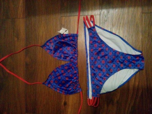Strój kąpielowy 2-częściowy XL fioletowo- czerwony kostium kąpielowy