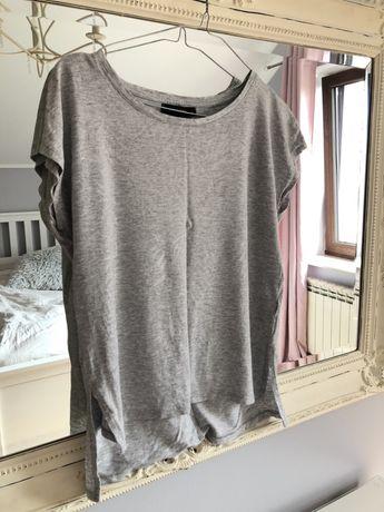 Bluzka siwa szara srebrne palmy nadruk Reserved M