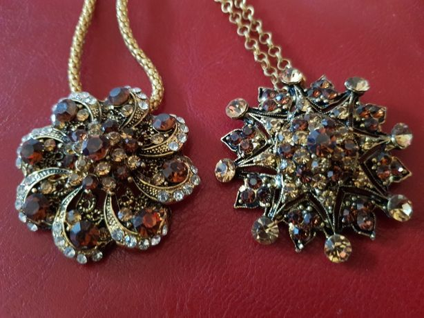 Biżuteria Naszyjnik cyrkonia przywieszka ozdoba łańuszek prezent dżet