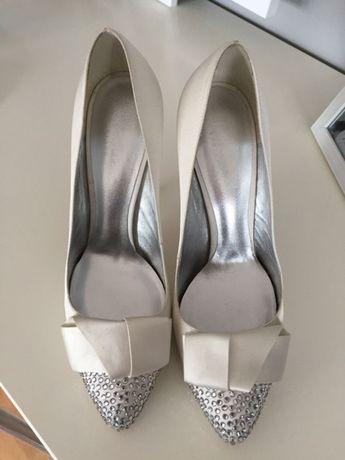 buty slubne pantofle szpilki ślubne Svarovski nowe ślub wesele