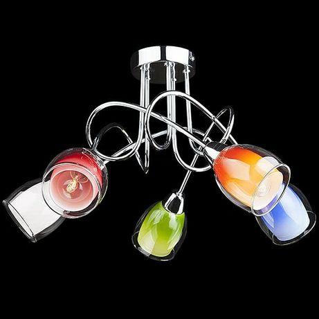 Lampa chromowana Eurostar  szklane klosze piękna uno 5