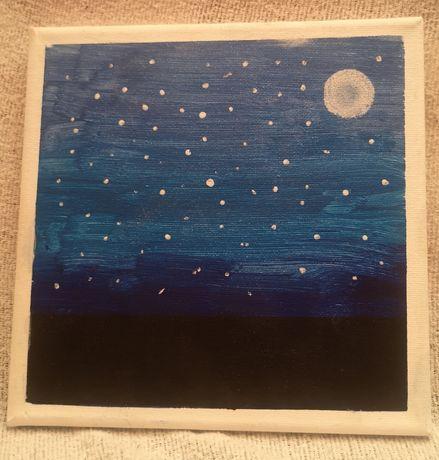 Obraz UŚPIONE MIASTO ręcznie malowany, rękodzieło 20x20 oryginał