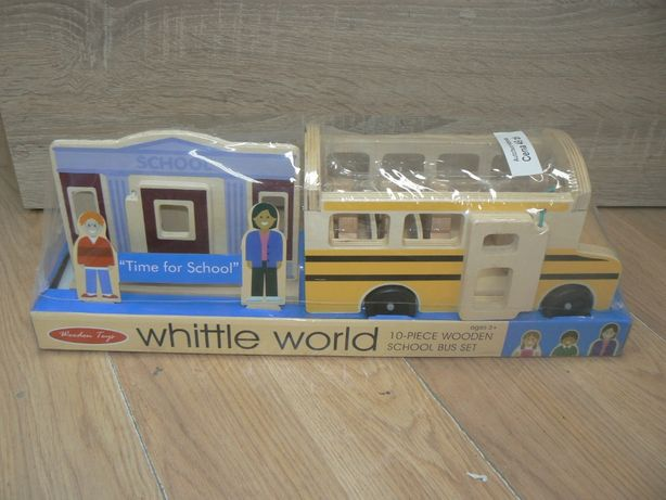 NOWY drewniany,edukacyjny autobus szkolny + szkoła,figurki Wooden Toys