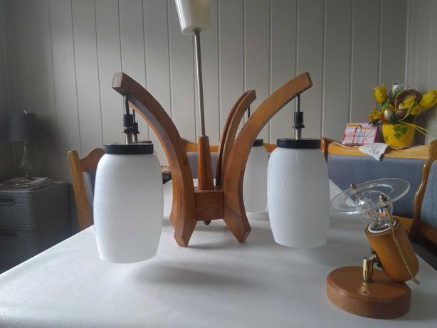 Żyrandol drewniany PRL z kinkietem (+ gratis kinkiet/plafon)