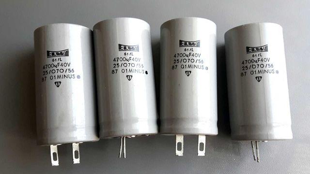 kondensatory elektrolityczne ELWA 4700 uF 40V, 4 sztuki