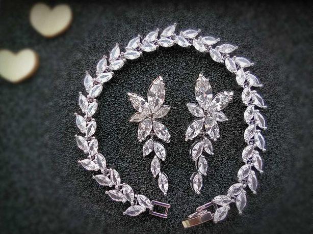 Kolczyki i bransoletka z kryształkami ślubne