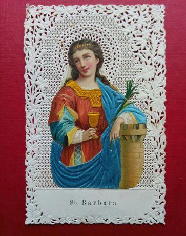 "Holy card. Кольорова мережева свята карта. Іконка.""St.Barbara""1880рр."