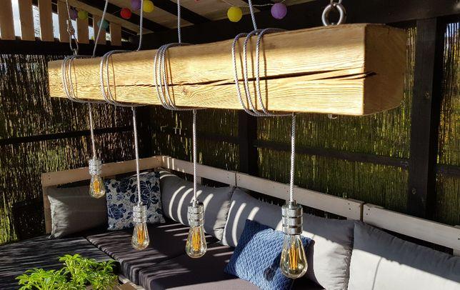 Lampa wisząca z drewnianej  belki - industrialna, loftowa, rustykalna