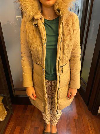 Зимняя женская куртка с натуральным мехом (пуховик, лебединый пух)