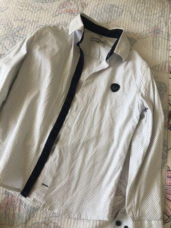 Рубашка белая в темно синий горох