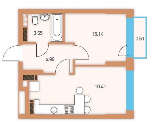 Квартира в ЖК Twin House 24 этаж 34,8м2