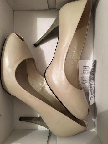Szpilki pantofle 36 skóra ślub białe nude beż