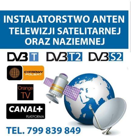 Ustawianie i montaż anten telewizji satelitarnej, naziemnej