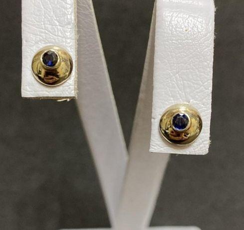 Золотые серьги,пусеты с сапфирами 585 проба