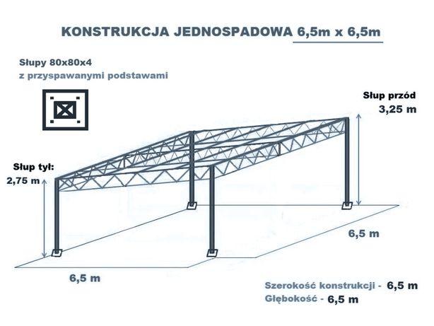 Konstrukcja skręcana wiata rolna garaż 6,5 x 6,5m Hala Magazyn Blacha
