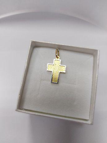 Krzyżyk z obwódką białego złota próby 585 Prezent na komunię!