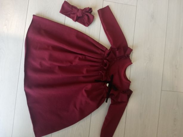 Bordowa sukienka rozmiar 86