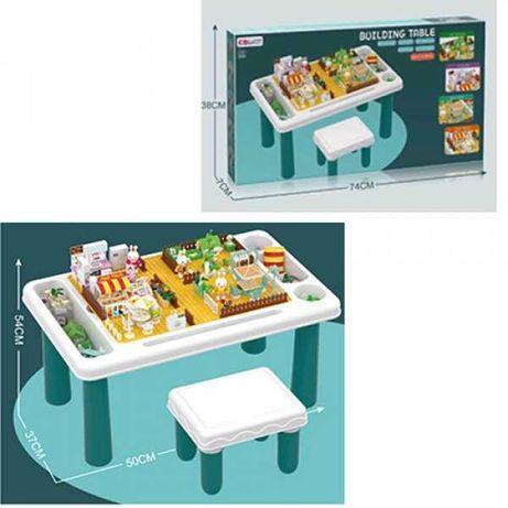 Конструктор-стол EB6666-B (10шт) 50-37-в54см, стульчик, фигурки